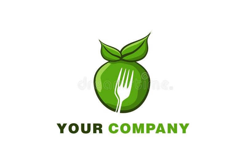 green apple and negative space of fork logo. royalty free illustration