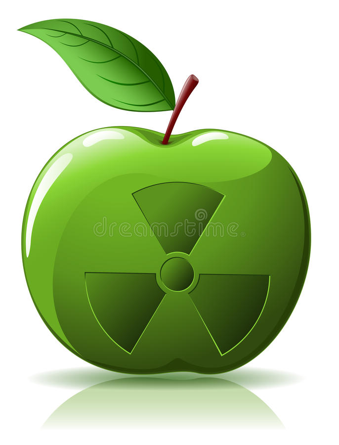 Green Apple With Nuclear  Sing Stock Photos