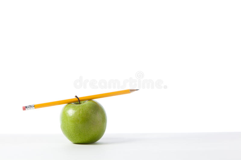 Download Green Apple With Pencil Stock Image - Image: 18189191