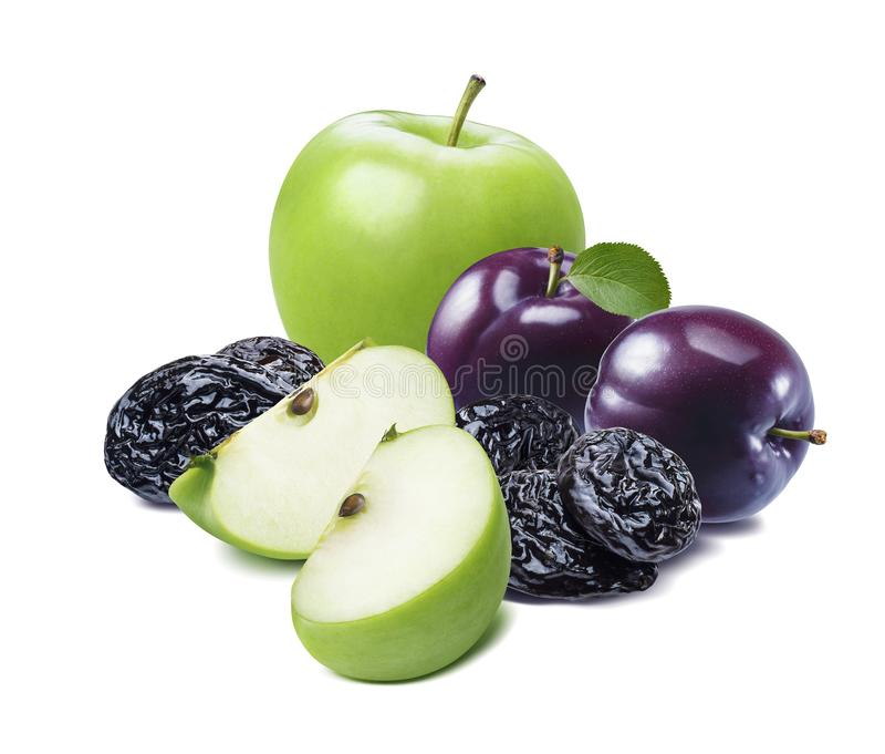 Green apple, purple fresh and dried plums isolated on white back royalty free stock photography