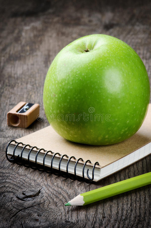 Download Green Apple And School Supplies Stock Image - Image: 25960141