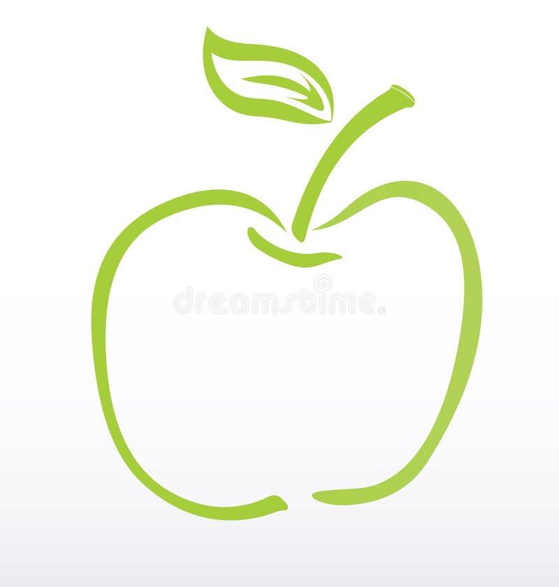 Green apple Silhouette. On white vector illustration