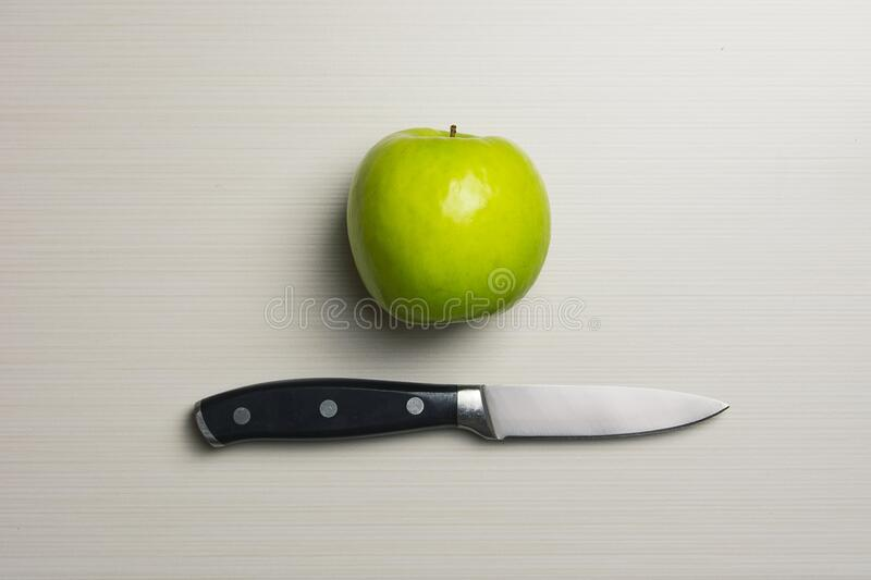 Green Apple Beside Silver Bladed Knife Free Public Domain Cc0 Image