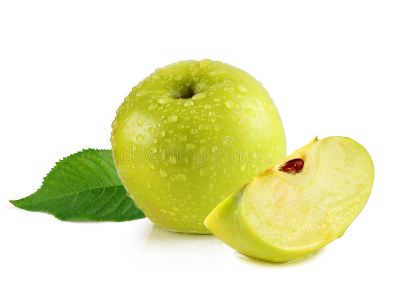 Green apple with slice stock photography
