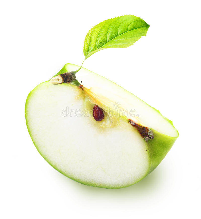Green apple slice royalty free stock photo