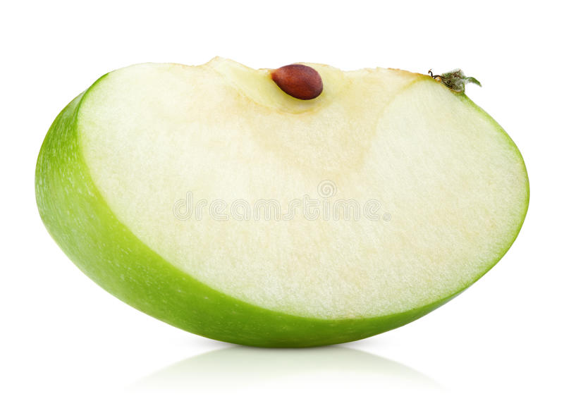 Green apple slice on white royalty free stock photos
