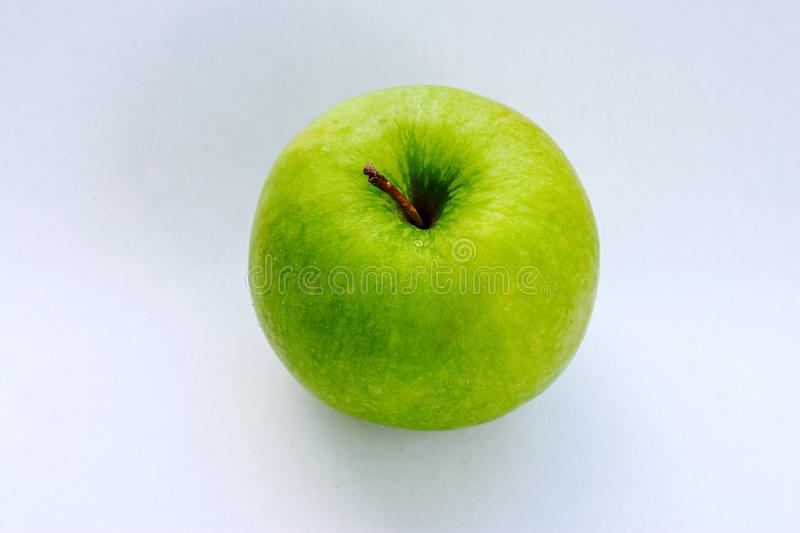Green apple top view. Green apple on white background stock photo