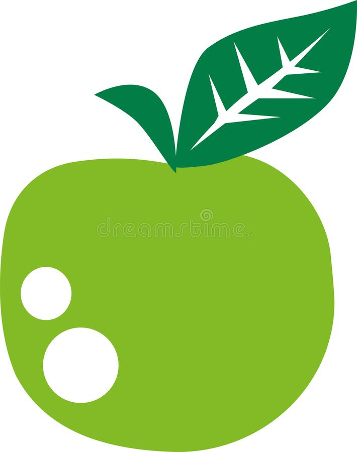 Green Apple with vitamins. Vector vector illustration