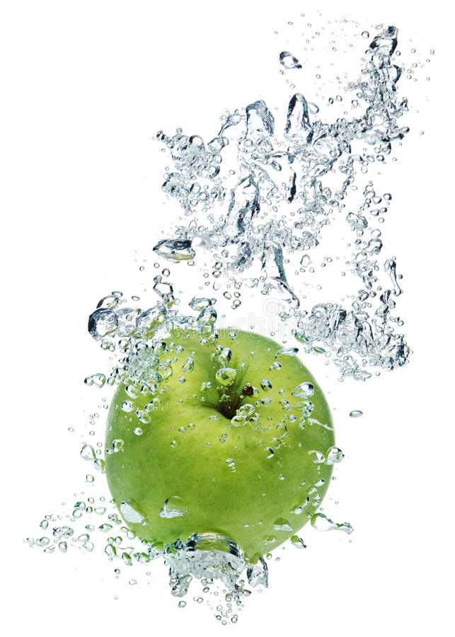 Download Green apple in water stock photo. Image of refreshing - 6382958