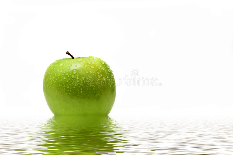 Download Green apple in water stock photo. Image of food, water - 7557596