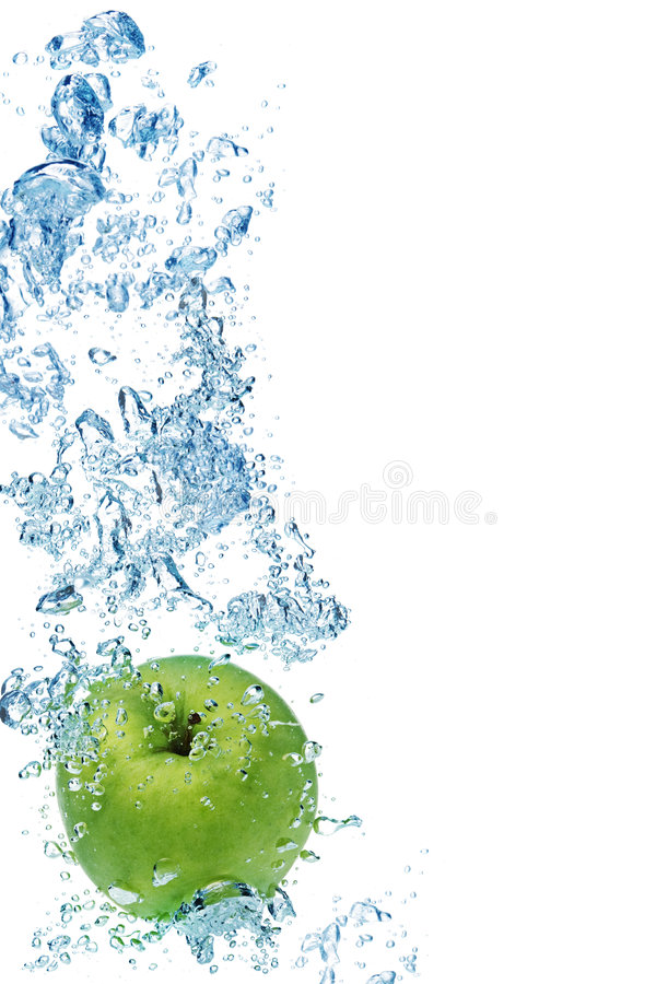 Download Green apple in water stock photo. Image of splash, abstract - 7949986