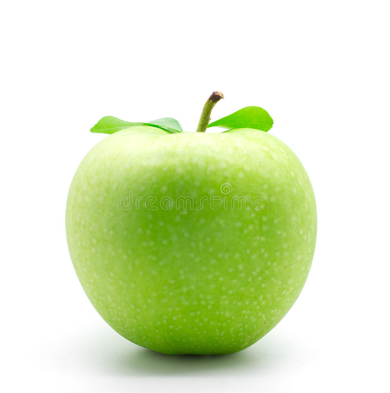 Green apple. With water drops. Healthy fruit with vitamins royalty free stock photo