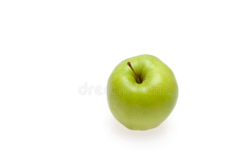 Green Apple on white background. Background image of green Apple on white with shadow royalty free stock image