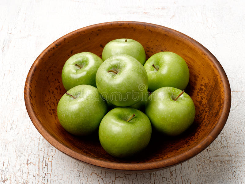 Download Green Apples stock image. Image of bowl, smith, wooden - 14193375