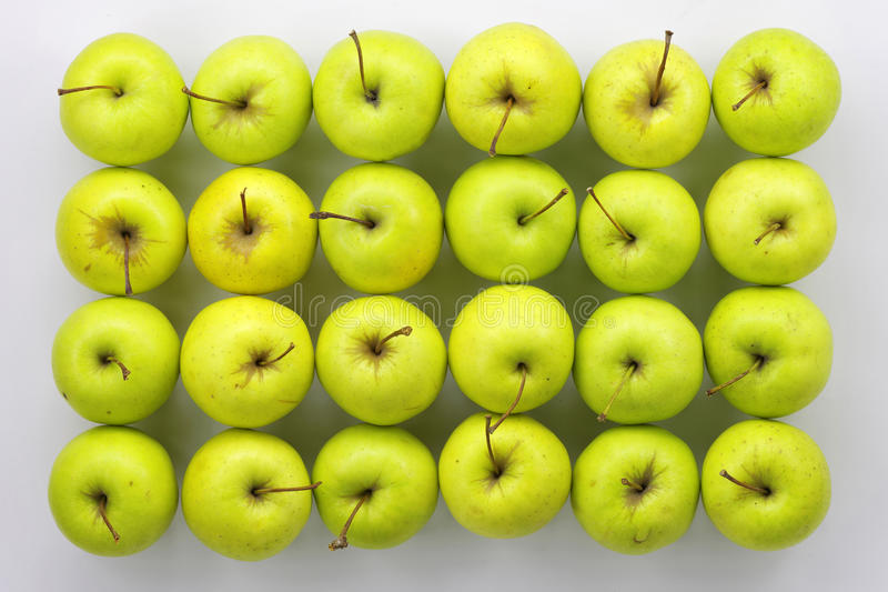 Green apples. Rectangle composition with green apples stock images