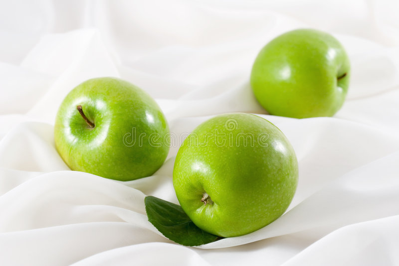 Download Green Apples stock image. Image of drapery, white, image - 465239