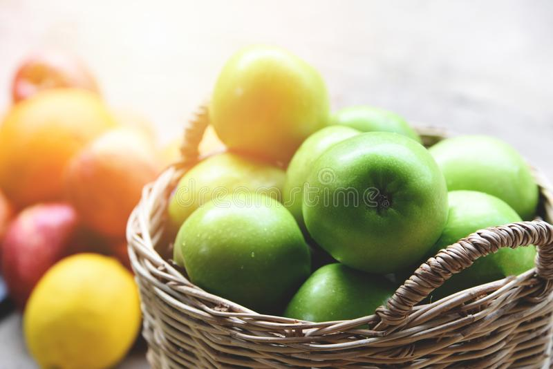 Green Apples - Harvest apple in the basket collect fruit in the garden. Green Apples / Harvest apple in the basket collect fruit in the garden royalty free stock photography