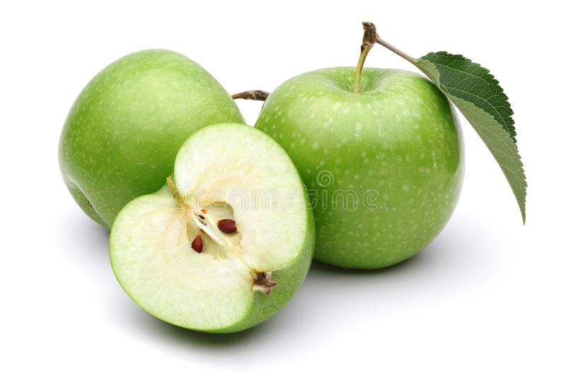Green apples isolated on white background. Studio shot royalty free stock photography
