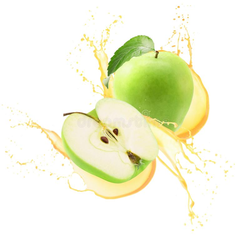 Green apples in juice splash isolated on a white background.  stock photo