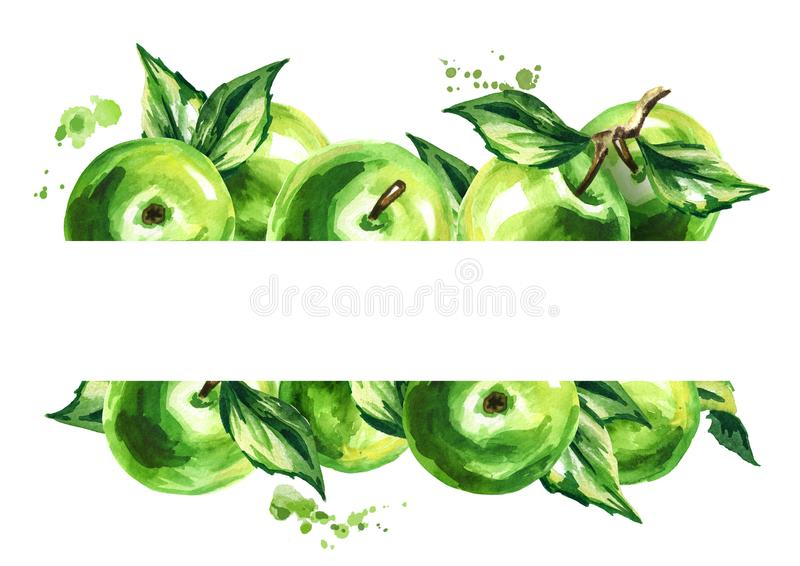 Green apples and leaves background. Watercolor hand drawn illustration. stock illustration