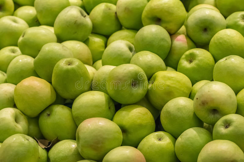 Green Apples In Market Display stock photos