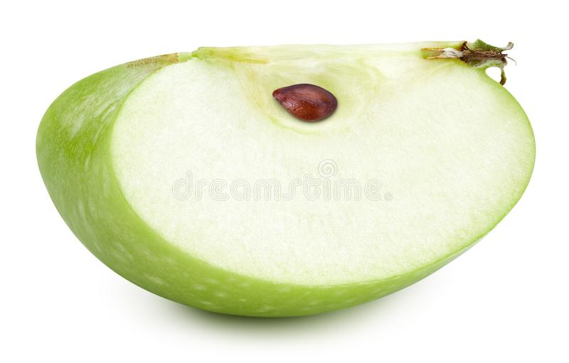 Green apples slice  on white royalty free stock photography