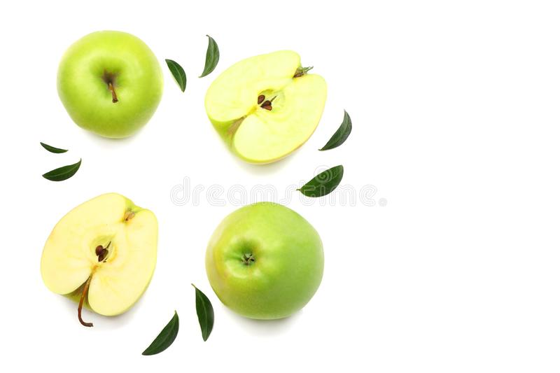 green apples with slices isolated on white background. top view stock image