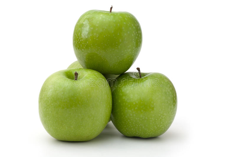 Green apples. Some green apples on white background stock images
