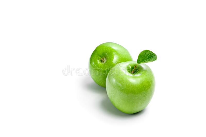 Green apples on a white background, composition, isolate.  royalty free stock photo