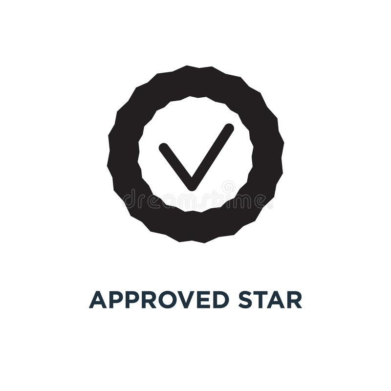 Green approved star sticker icon. Simple element illustration. G stock illustration