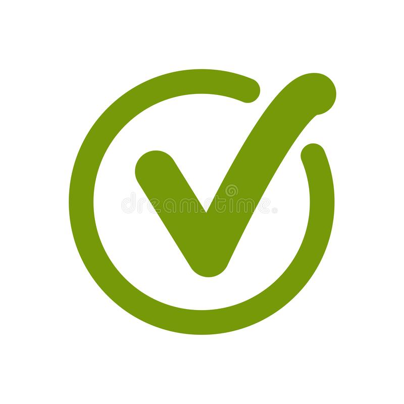 Green approved tick. Done stamp icon vector. Illustration stock illustration
