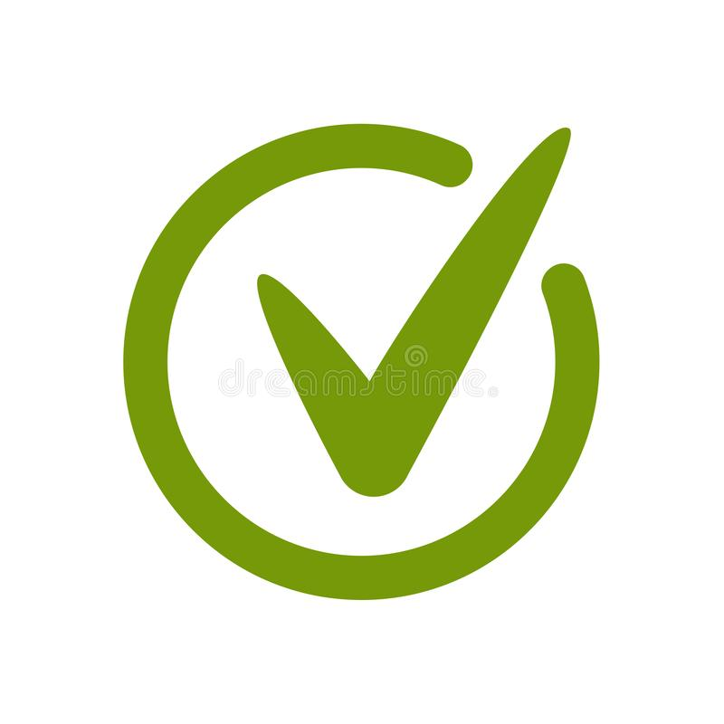 Green approved tick icon. Done stamp icon. Vector stock illustration