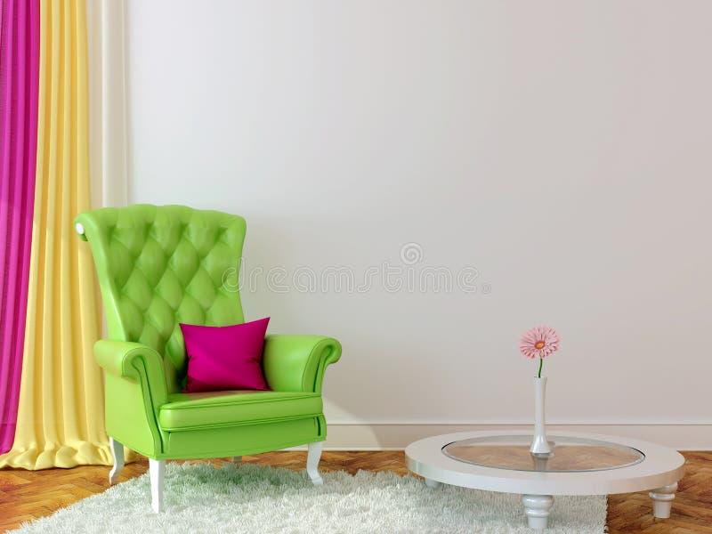 Green armchair in the interior vector illustration