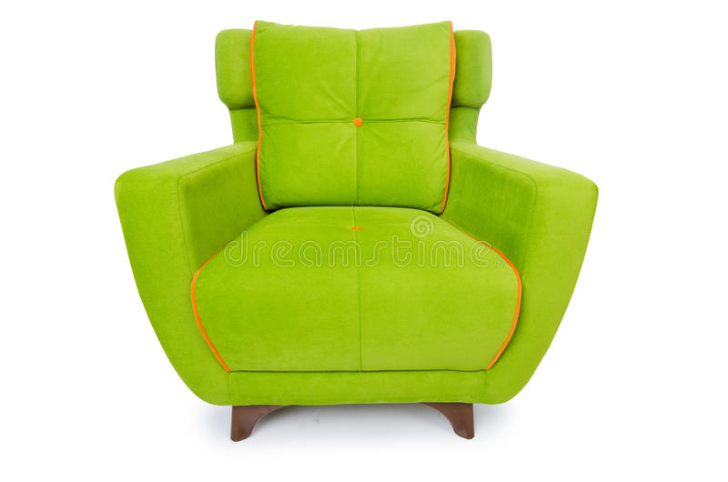 The green armchair isolated on the white royalty free stock images