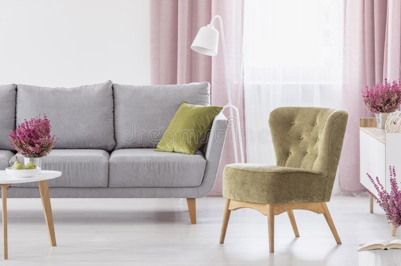 Green armchair standing in white living room interior with grey couch, window with pastel pink drapes and heathers. Green armchair standing in white living room stock images