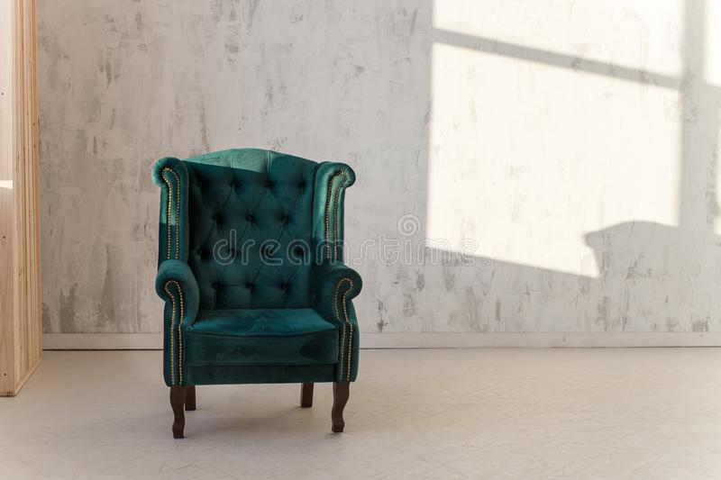 Download Green Armchair On White Wall Background Near Window. Loft Style  Stock Photo   Image