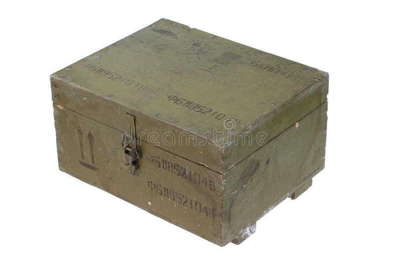 Green army box of ammunition. Isolated stock photography