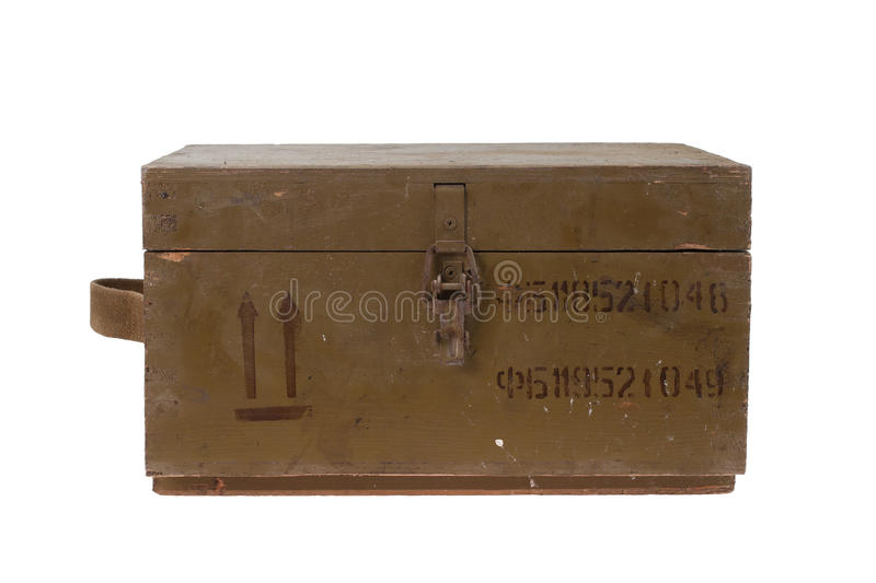 Green army box of ammunition. Isolated royalty free stock photo