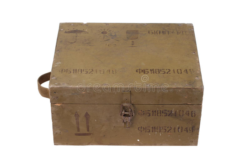 Green army box of ammunition. Isolated royalty free stock image
