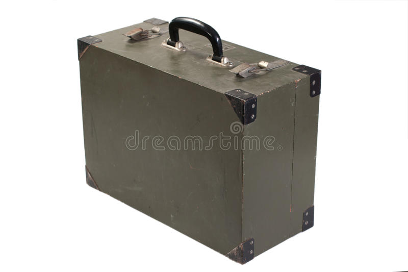 Green army box. Of ammunition isolated royalty free stock image