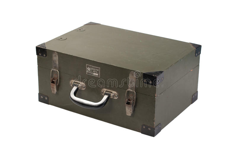 Green army case of ammunition isolated. Green army case of ammunition royalty free stock photos