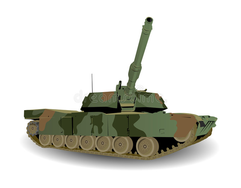 Green Army Tank. Over White vector illustration