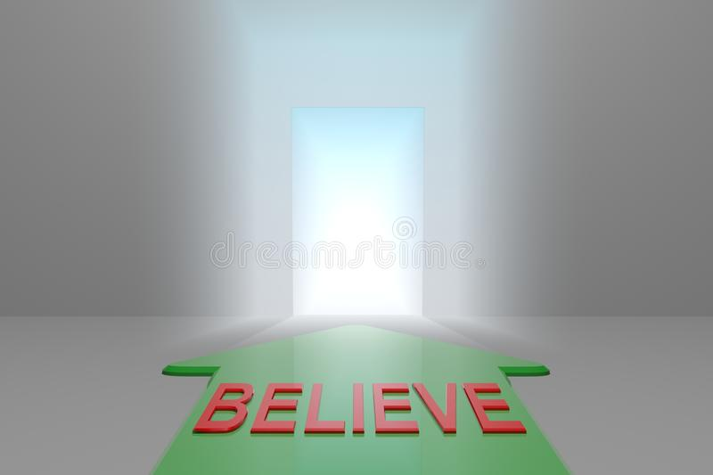 Believe to the open gate. Green arrow with believe word front of the open gate , 3d rendered royalty free illustration