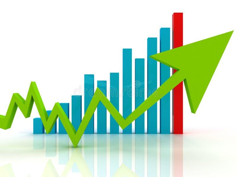Green arrow on business graph stock illustration