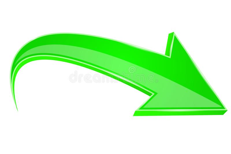 Green arrow. 3d sign. Vector illustration isolated on white background royalty free illustration