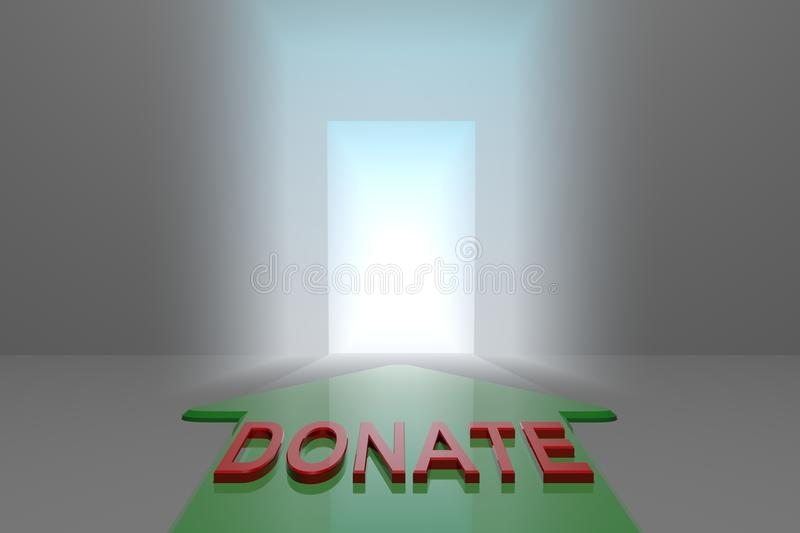 Donate to the open gate. Green arrow with donate word front of the open gate , 3d rendered stock illustration