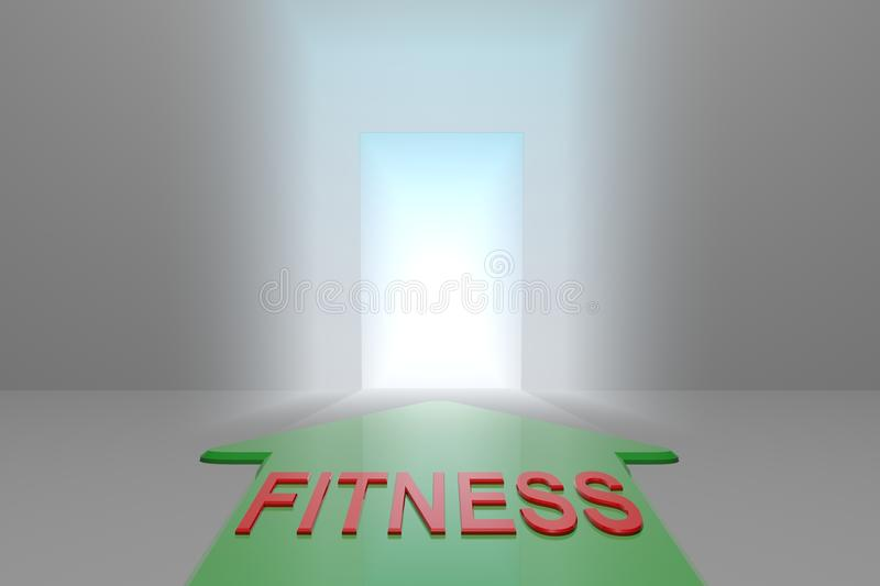 Fitness to the open gate. Green arrow with the fitness word front of the open gate , 3d rendered vector illustration
