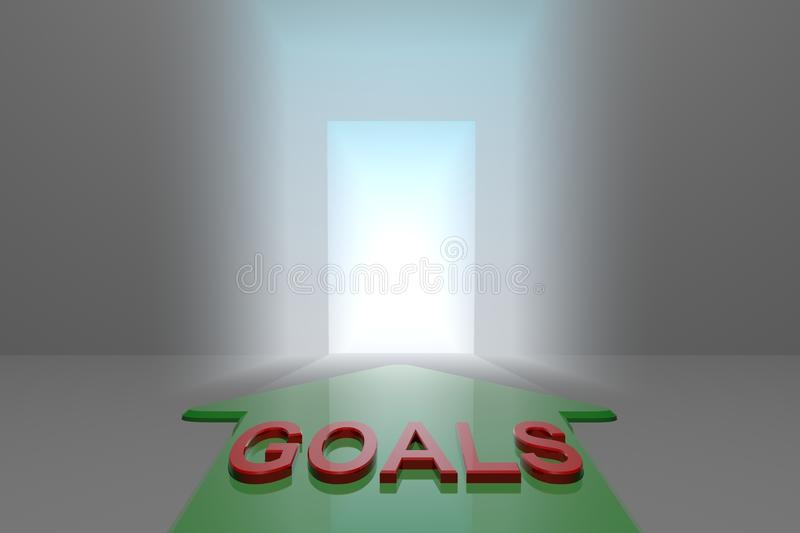 Goals to the open gate. Green arrow with goals word front of the open gate , 3d rendered royalty free illustration