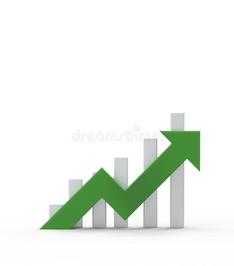 Green arrow and graph. Growing business concept.3D rendering stock illustration