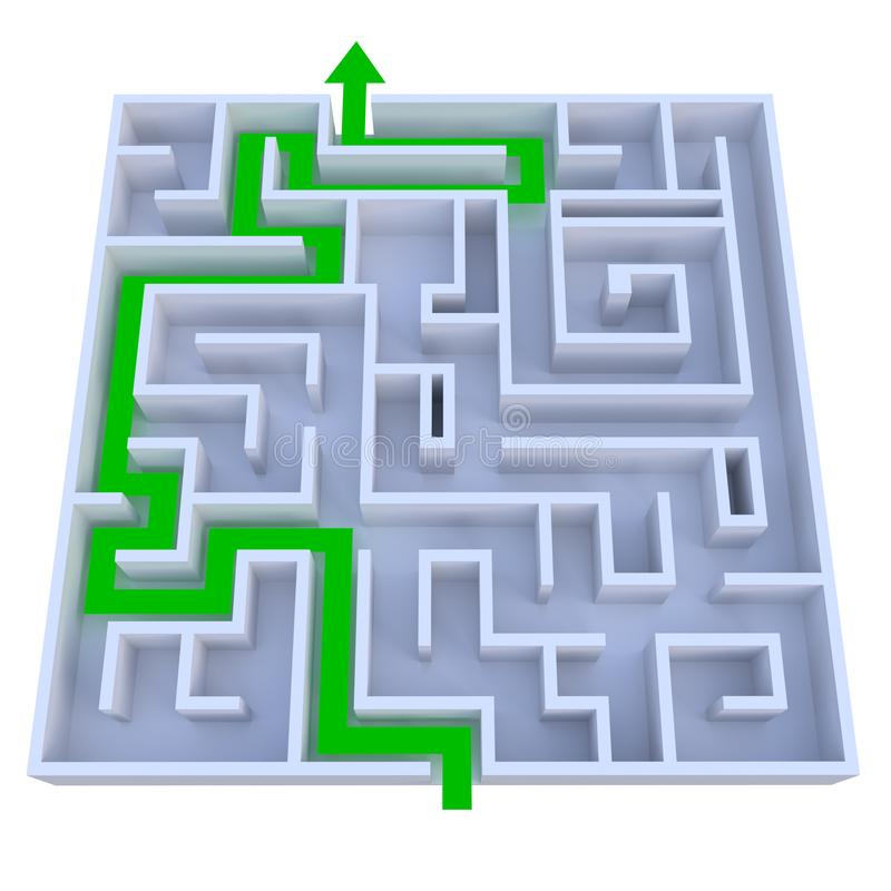 Arrow leading through maze. A green arrow is leading the way through a maze. Isolated on white background stock illustration